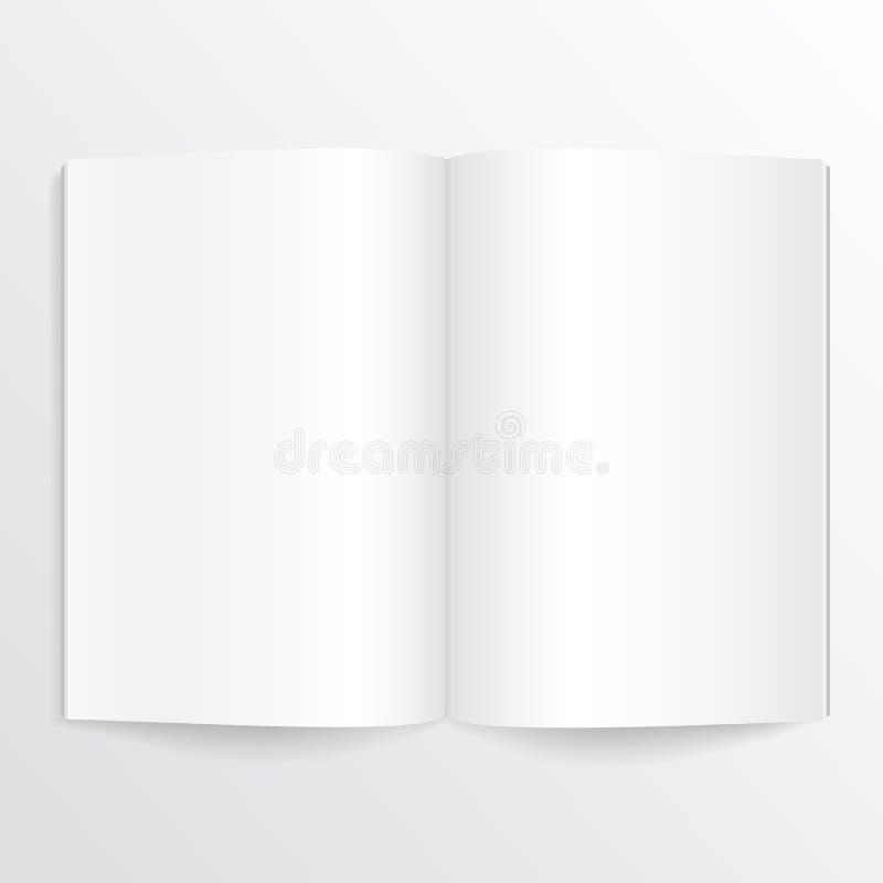 Geopend boek met blanco pagina's stock illustratie