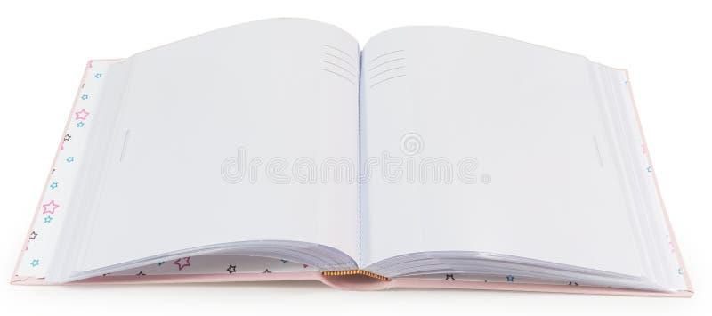 Geopend boek met blanco pagina's op een witte achtergrond royalty-vrije stock foto's