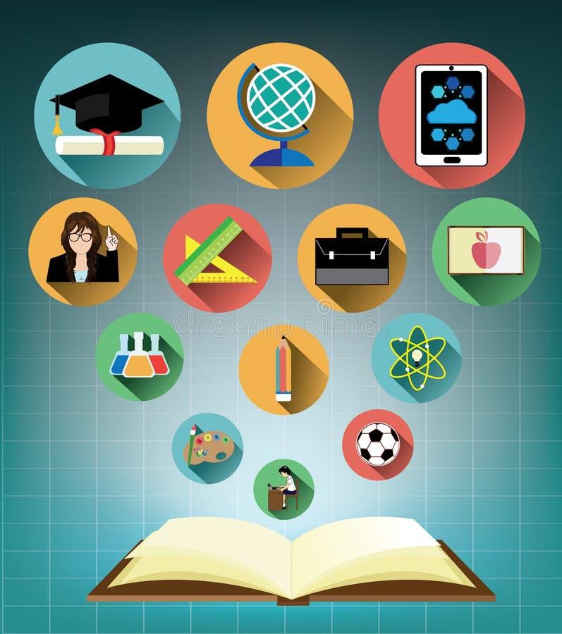 Geopend boek met Moderne vlakke geplaatste onderwijspictogrammen stock illustratie