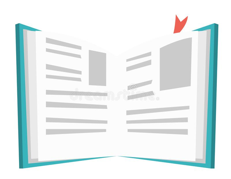 Geopend boek met referentie vectorillustratie stock illustratie