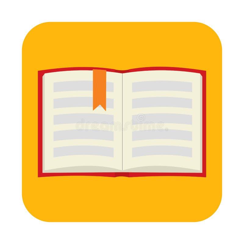 Geopend boek met referentie vlak pictogram royalty-vrije illustratie