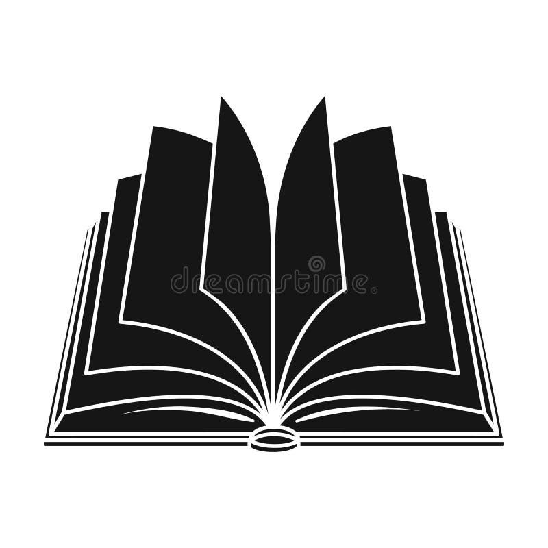 Geopend boekpictogram in zwarte die stijl op witte achtergrond wordt geïsoleerd De voorraad vectorillustratie van het boekensymbo stock illustratie