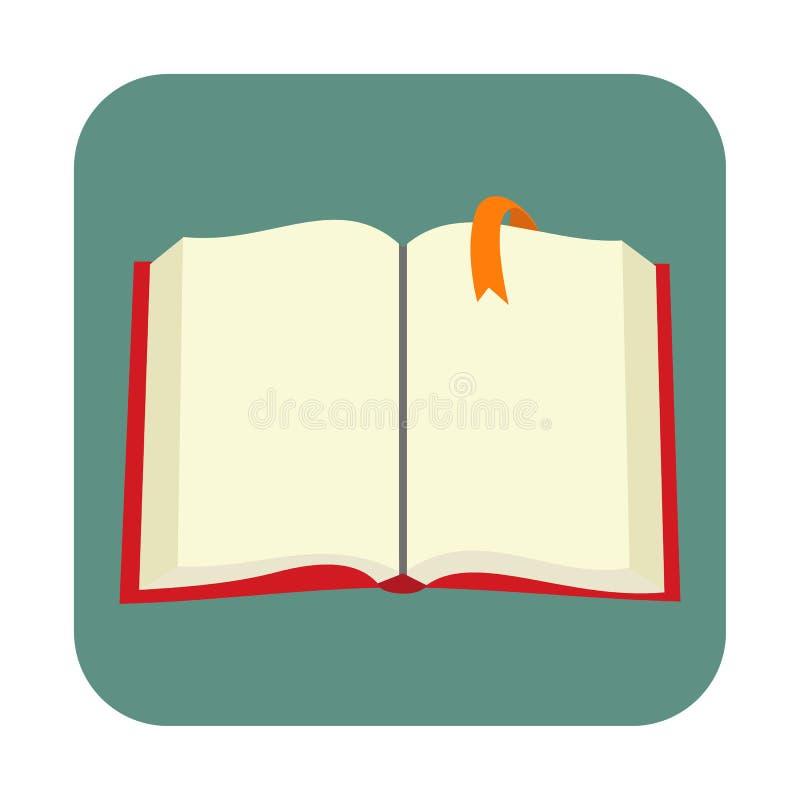 Geopend leeg boek met referentie vlak pictogram stock illustratie