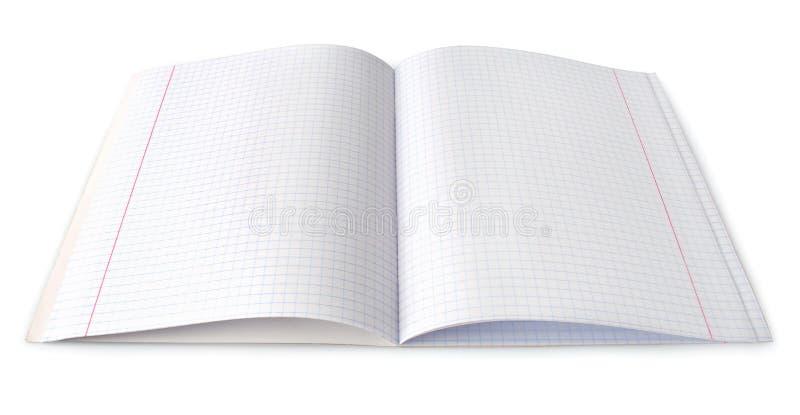 Geopend leeg notitieboekje dat op wit wordt geïsoleerdj stock afbeeldingen
