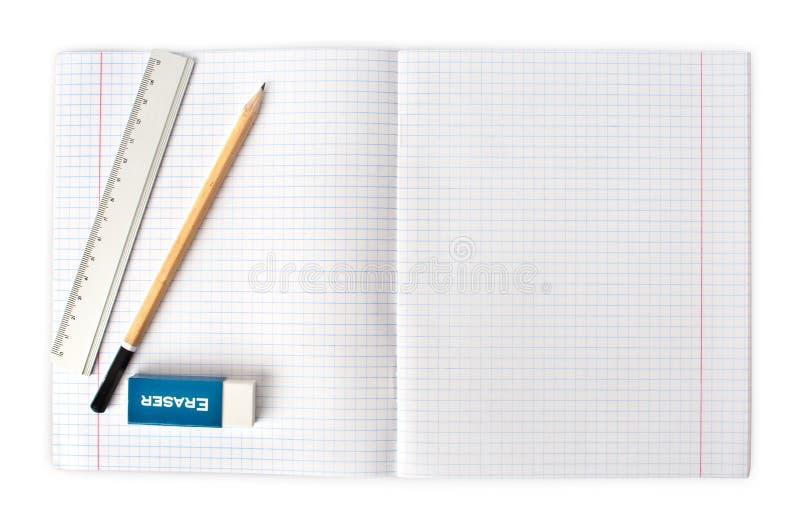 Geopend leeg notitieboekje met potlood en gom royalty-vrije stock fotografie