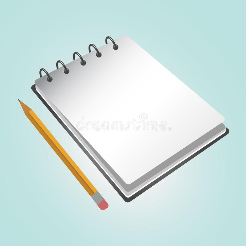 Geopend notitieboekje en potlood Vector illustratie stock illustratie