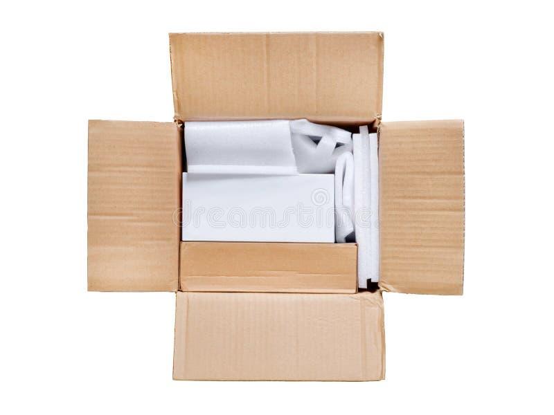 Geopend pakket Hoogste mening van open levering met lege witte doos i stock foto