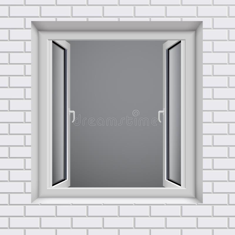 Geopend plastic venster in witte baksteen wal stock illustratie