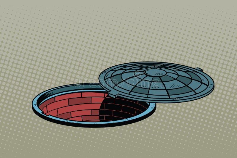 Geopend Straatmangat Realistische illustratie vector illustratie