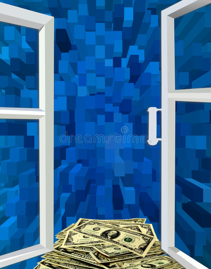 Geopend venster voor de blauwe abstractie en de dollars stock illustratie