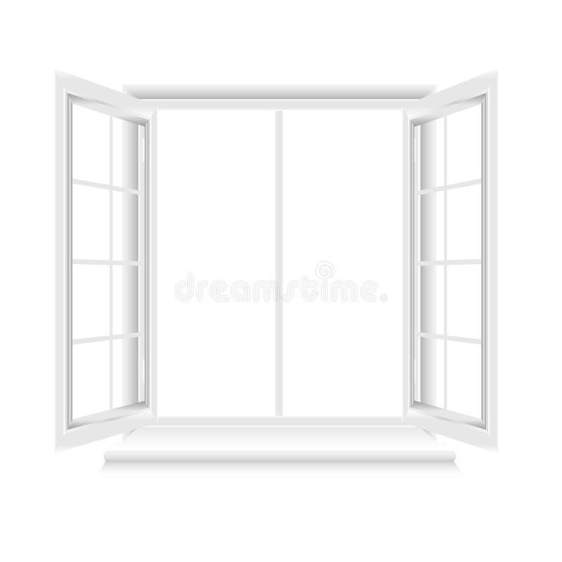 Geopend wit raamkozijn op witte achtergrond royalty-vrije illustratie