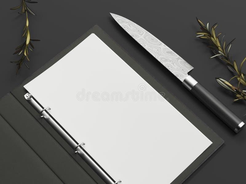 Geopend zwart menu en document blad naast mes op zwarte achtergrond, het 3d teruggeven royalty-vrije stock afbeelding
