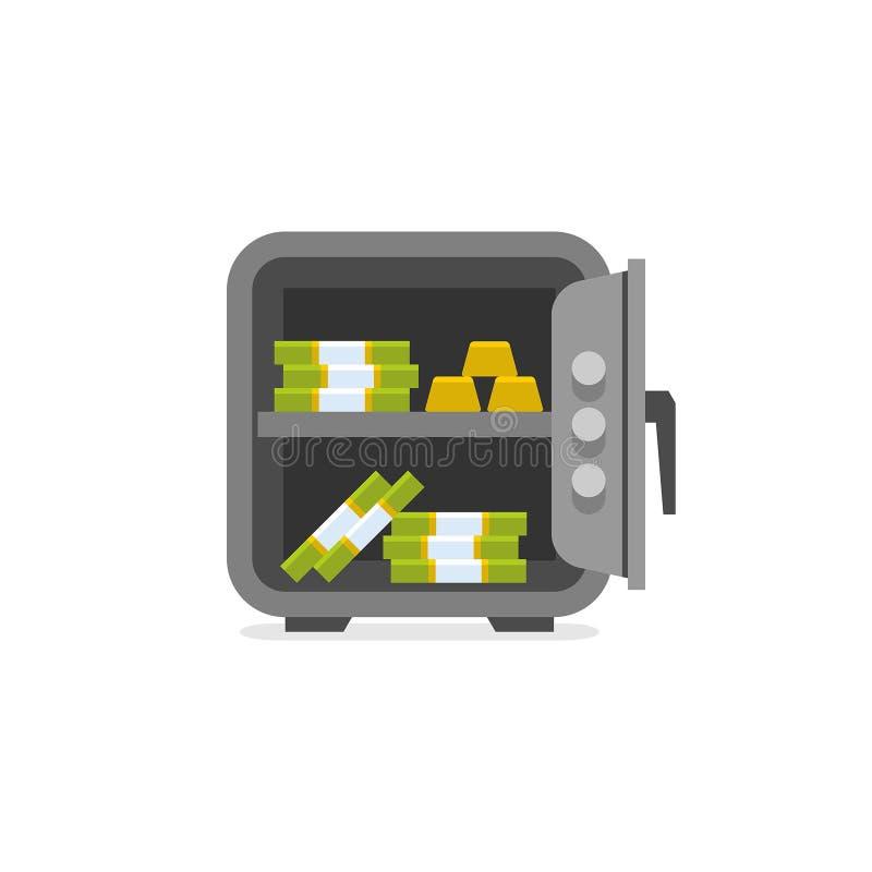 Geopende brandkast Geopend met binnen geld vector illustratie
