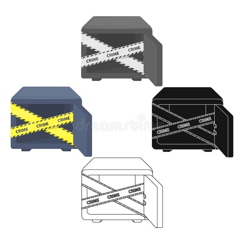 Geopende brandkast met een beschermende band Room, metaal veilig enig pictogram in beeldverhaal, de zwarte voorraad van het stijl vector illustratie