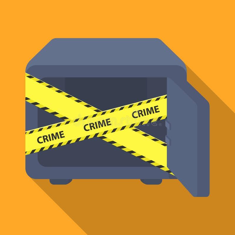Geopende brandkast met een beschermende band Room, metaal veilig enig pictogram in het vlakke Web van de de voorraadillustratie v stock illustratie