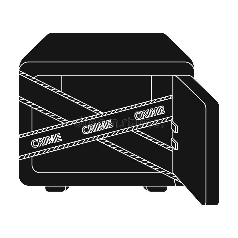 Geopende brandkast met een beschermende band Room, metaal veilig enig pictogram in het zwarte Web van de de voorraadillustratie v royalty-vrije illustratie