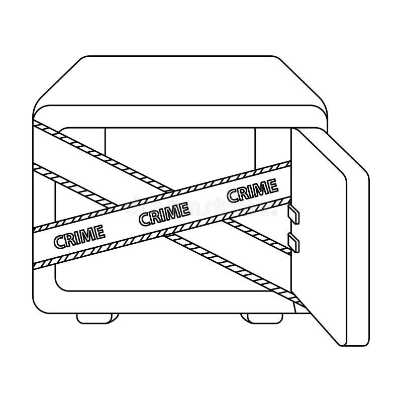 Geopende brandkast met een beschermende band Room, metaal veilig enig pictogram in van de het symboolvoorraad van de overzichtsst royalty-vrije illustratie