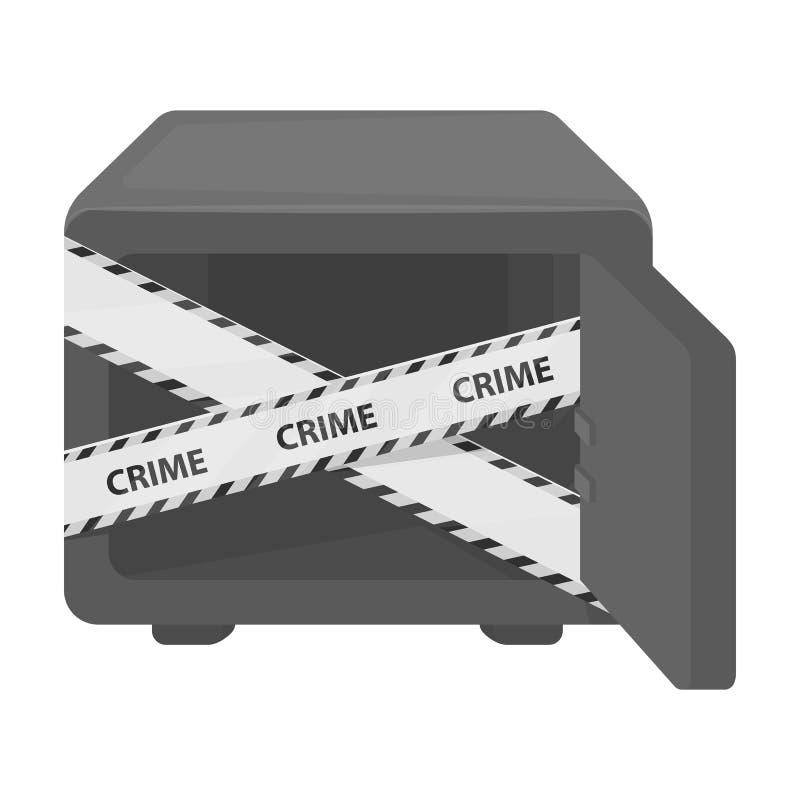 Geopende brandkast met een beschermende band Room, metaal veilig enig pictogram in zwart-wit de voorraadillustratie van het stijl royalty-vrije illustratie