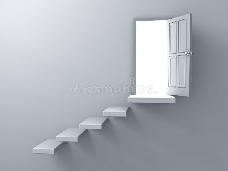 Geopende deur met helder licht en trede op lege witte muurachtergrond met schaduw royalty-vrije illustratie