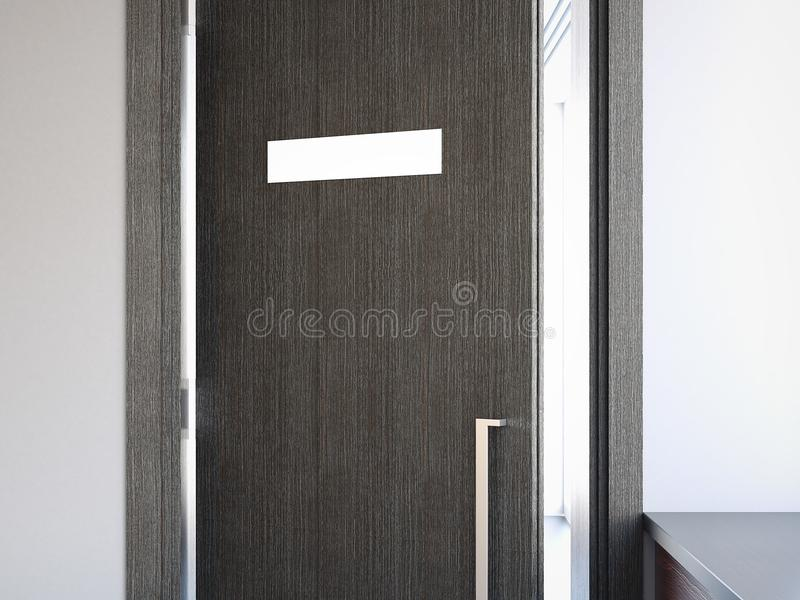 Geopende deur met naambord het 3d teruggeven stock illustratie