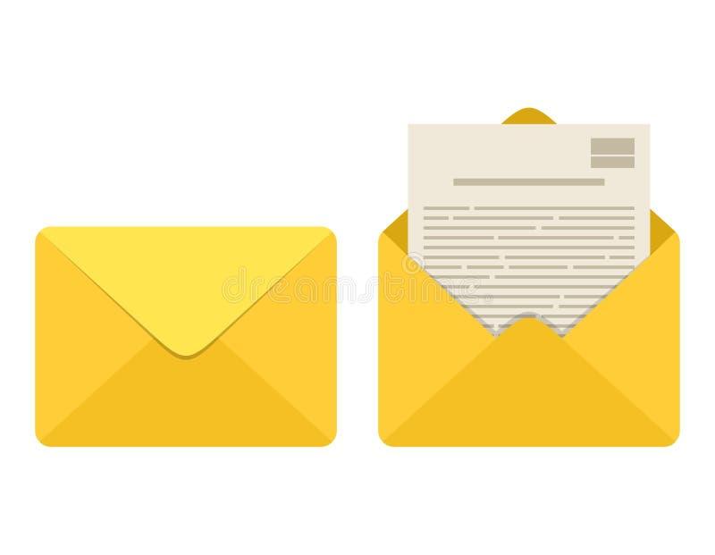 Geopende en gesloten geweeste die envelop met notadocument kaart op witte achtergrond wordt geïsoleerd Het pictogram van de post  stock illustratie
