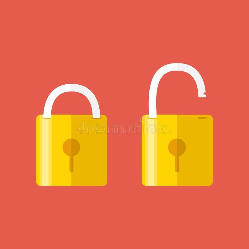 Geopende en gesloten sloten Vlakke stijl Concept wachtwoord royalty-vrije illustratie