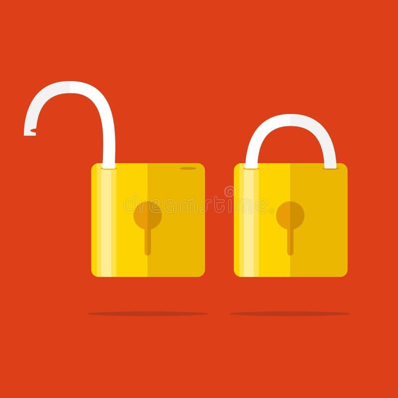 Geopende en gesloten sloten Vlakke stijl Concept wachtwoord, blocki stock illustratie