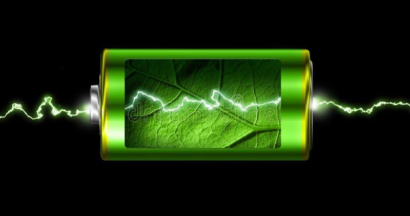 Geopende groene de machtsvonk van de energiebatterij stock illustratie
