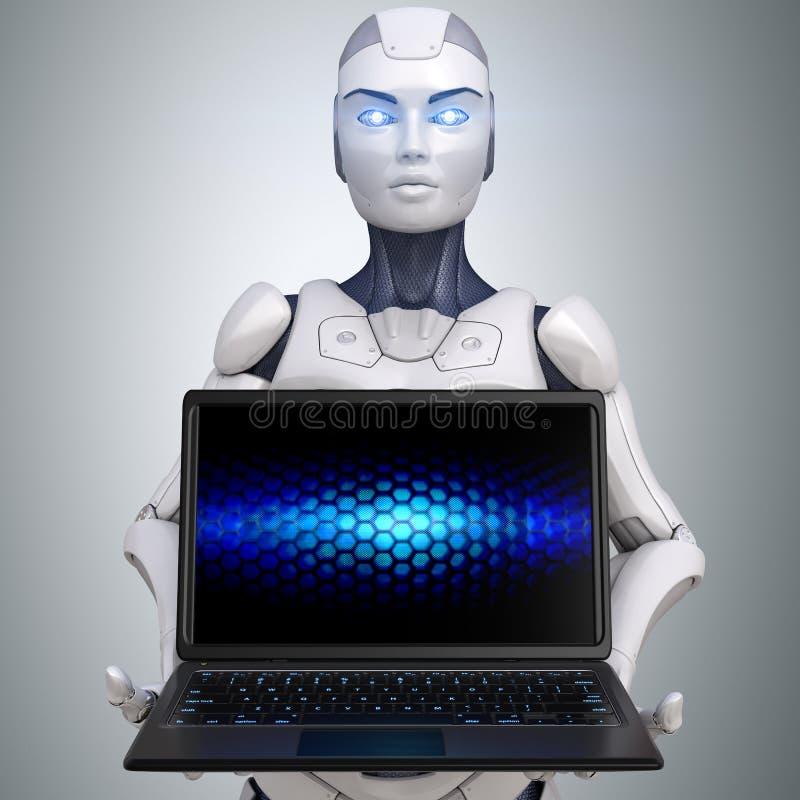 Geopende laptop van de robotholding anm royalty-vrije illustratie