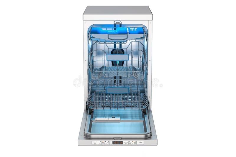 Geopende lege afwasmachine, het 3D teruggeven stock illustratie