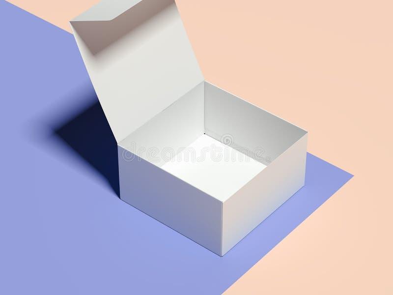 Geopende lege witte kartondoos op veelkleurige achtergrond, het 3d teruggeven royalty-vrije illustratie
