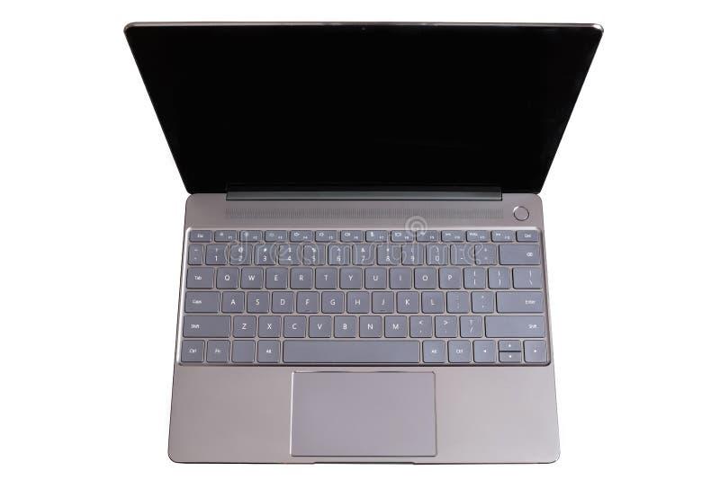 Geopende moderne laptop met het toetsenbord van de V.S., touchpad en het lege lege die scherm op witte achtergrond hoogste mening royalty-vrije stock fotografie