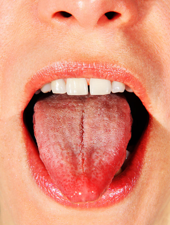 Geopende mond van vrouw stock fotografie