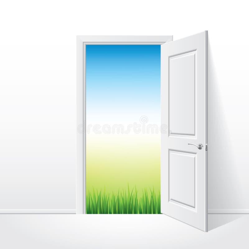 Download Geopende Witte Deur En Aardillustratie Vector Illustratie - Illustratie bestaande uit binnenlands, muur: 39100884
