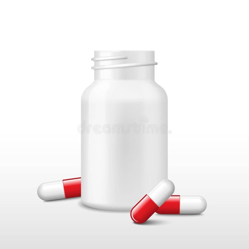 Geopende witte geneeskundedoos of fles en weinig rode pillen Vector realistische tabletten, capsules, drug van pijnstillers stock illustratie