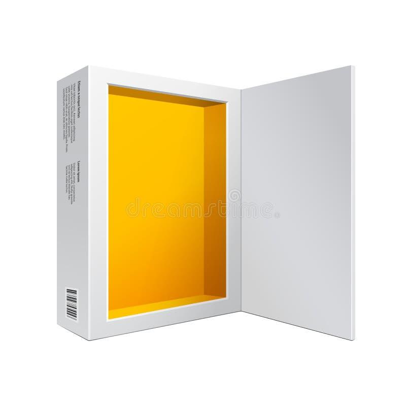 Geopende Witte Moderne de Doos Geeloranje Binnenkant van het Softwarepakket voor DVD, CD Schijf of Ander Uw Product vector illustratie