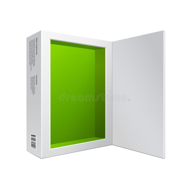 Geopende Witte Moderne de Doos Groene Binnenkant van het Softwarepakket voor DVD, CD Schijf of Ander Uw Product stock illustratie