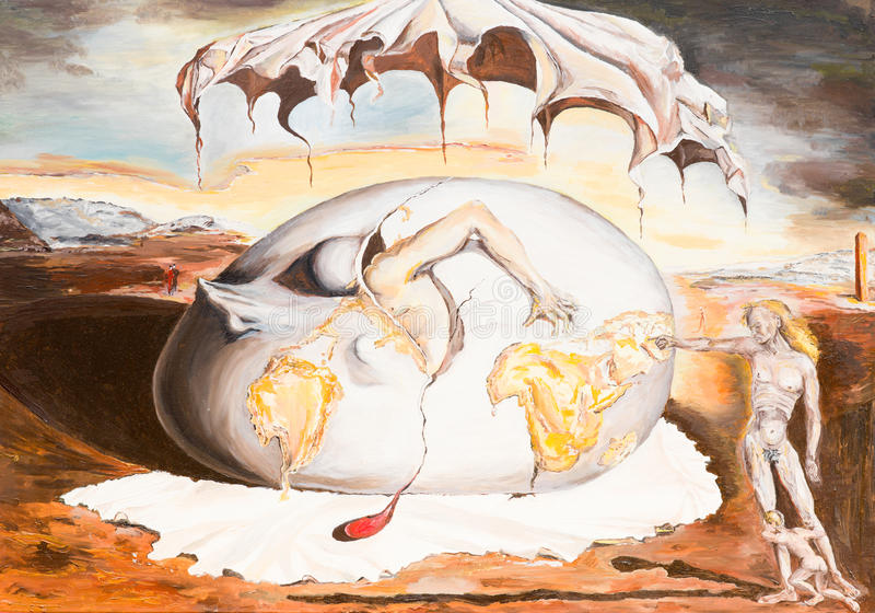 Geopoliticus child watching the birth of the new man. Oil painting illustrationg a replica of a famous painting made by Salvador Dali royalty free illustration