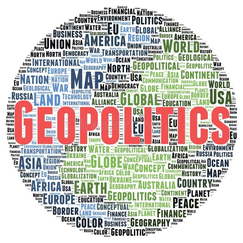 Geopolitikwort-Wolkenform vektor abbildung