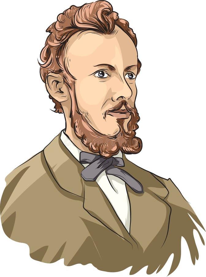 Georg Cantor. Vector illustration of German mathematics Georg Cantor