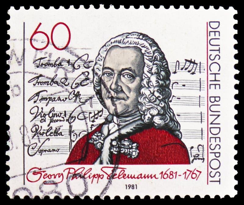 """Georg Philipp Telemann и титульный лист кантаты  dem Herrn†""""Singet, serie, около 1981 стоковое изображение"""