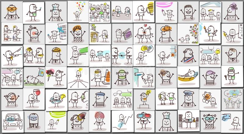 Georganiseerde Beelden van Beeldverhaalmensen en het Dagelijkse Leven vector illustratie