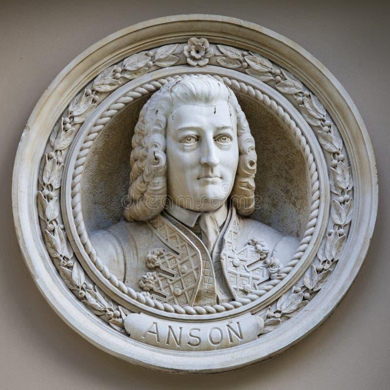 George Anson Medallion Bust em Greenwich imagens de stock