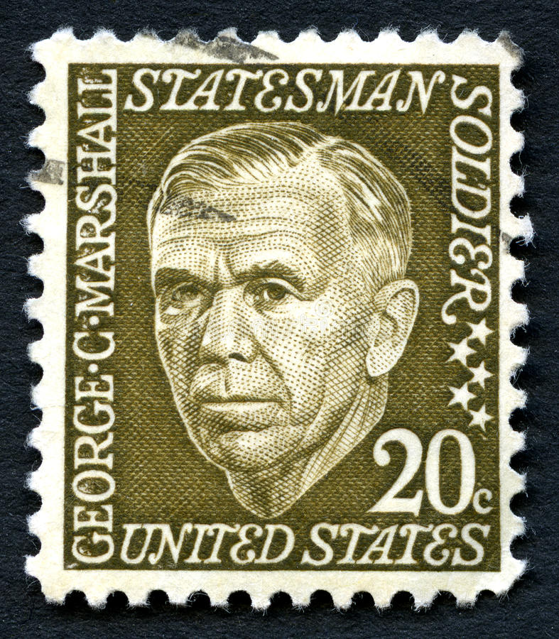 George C Marshall US Postage Stamp. UNITED STATES OF AMERICA - CIRCA 1965: A used postage stamp from the the USA, depicting an illustration of Statesman George C royalty free stock photo