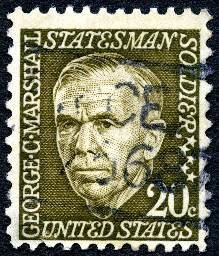 George C. Marshall US Postage Stamp. UNITED STATES OF AMERICA - CIRCA 1965: A used postage stamp from the the USA, depicting an illustration of Statesman George royalty free stock photos