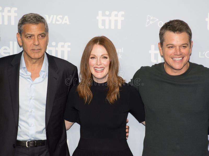 Suburbicon press conference for toronto international film festival. George Clooney, actors Julianne Moore and Matt Damon attend the `Suburbicon` press stock photo