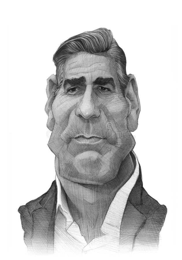 George Clooney caricature Sketch. For editorial use