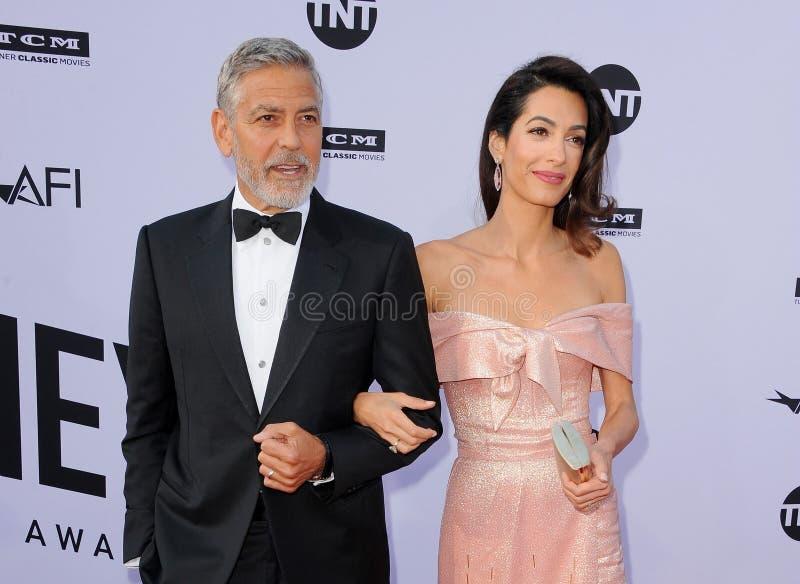 George Clooney en Amal Clooney stock afbeeldingen