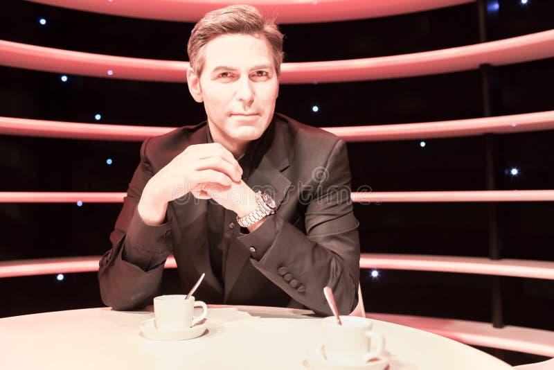George Clooney wosku statua w Madame Tussauds muzeum zdjęcie stock