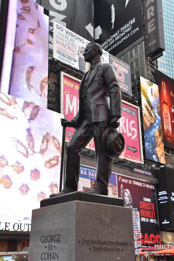 George Cohan Statue at Duffy Square by Times Square in Manhattan, New York stock photography
